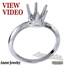 Six-Prong Knife Edge Ring Mounting 18K White Gold Ring Sizes 4 to 9.5 #R1063