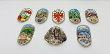 Vintage Germany Walking Stick Cane Stickers Metal City Lot/8 Munchen Innsbruck