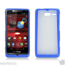 Motorola Droid Razr M xt907 GUMMY HYBRID CASE COVER ACCESSORY CLEAR BLUE