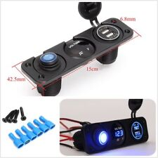 12V Voltmeter Blue LED Car Dual USB 3.1A Charger Rocker Switch Cigarette Lighter