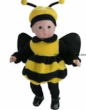 Bumble Bee Costume+Antenna Hat+Tights Fits 18 in American Girl Doll Clothes