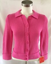 Women's New Issac Mizrahi Pink Sweater 100% Cotton US Size XS Button Down