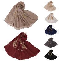 Women Muslim Long Scarf Scarves Headwrap Flower Soft Cotton Hijab Shawl Wraps