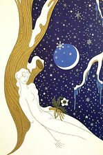 Erte 1982 SEASONS Winter Snowflakes Art Deco Fashion Print Matted Ready to Frame
