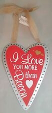 """Love You Bacon Valentine's Day Sign Wood Metal Red Wall Art Decor 11""""x8"""""""