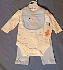 NEW! Rene Rofe 3 Piece Baby Outfit Shirt Pants Bib Mouse W/ Flowers Lt Blue