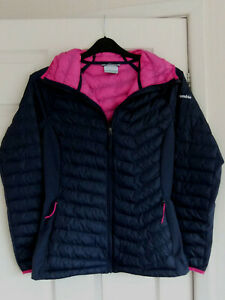 """Ladies Columbia Navy Blue Lightweight Fitted Hooded Puffer Jacket ~ Size S/34"""""""