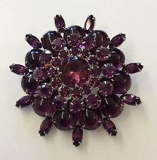 Fantastic! WEISS Vintage Signed Royal Purple Rhinestone & Glass Statement Brooch
