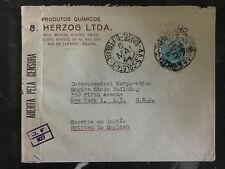 1944 Rio de Janeiro Brazil censored Commercial Airmail cover to USA