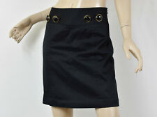 MILLY New York Solid Black Stretch Cotton Button-Waist A-Line Short Skirt S 4