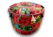 Indian vintage patchwork ottoman handmade embroidered footstool floor pouf cover