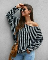 Knitted Loose Knitwear Womens Sweater Knit Shirt Long Sleeve Tops Pullover