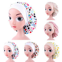 Girls Wide Band Satin Bonnet Hair Cap Night Sleep Hat Kids Turban Sleeping Hat