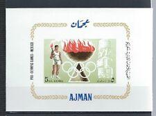 AJMAN , 1968 OLYMPICS , AIR MAIL ,  SOUVENIR SHEET . IMPERF , MNH
