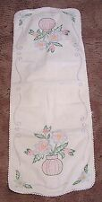 Vintage Cotton Table Runner Embroidered Vase of Flowers