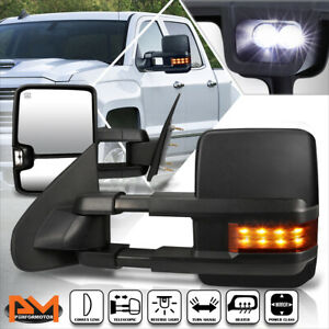 For 14-17 Silverado/Sierra Power+Heated Side Towing Mirror+LED Signal Lamp Pair