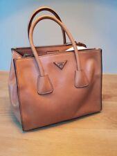 100% AUTHENTIC PRADA Medium size TOTE in lambskin Light Brown Leather