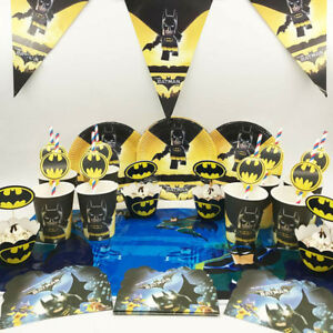 24pcs Batman Birthday Party Paper Plate Cup Tableware Decorations UK