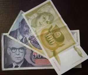 YUGOSLAVIA 100 5000 500000000 Dinara Banknote 1990 / 1991 / 1993 Lot
