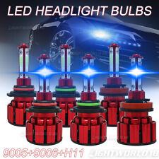 6PCS 9005 9006 H11 4-Sides LED Headlight Fog Lamp Bulbs 8000K Blue High Low Beam