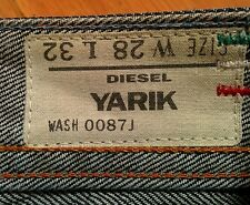 RaRe DIESEL YARIK WASH 0087J JEANS 32 x 32 * 28 x 32 Zip Pockets Leather Detail