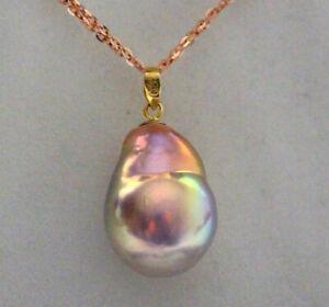 Aurora super size  AAAAAA  19.2×14.5MM Japanese kasumi pearl pendant G18K