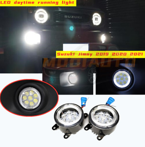 LED Front fog lights Lens Angel Eye Bulb 2pc Fit For Suzuki Jimny 2019 2020 2021