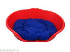 Large Plastic RED Dog Pet Bed With BLUE Dog Cat Basket