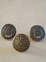 Vtg Waterbury Button Co Silver Tone Military Buttons Set Of 3