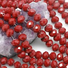 Lot of 5 std 36 pcs 10mm Chinese Glass Beads Faceted Rondelle Ruby Red Agate