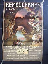 belle affiche ancienne 1914 grotte Remouchamps Amblève spéléologie speleology