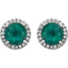 Emerald and Diamond Earrings in 14kt White Gold, May Birthstone
