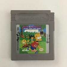 Bart Simpson's Escape From Camp Deadly Nintendo Game Boy Cartridge Tested Works