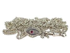 Jugendstil Damen 800 Silber florale Kettenschieber mit Panzer Taschenuhren Kette