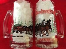 2 Vintage Budweiser Clydesdale Beer Mug Holiday Winter Glass Collectible 1988