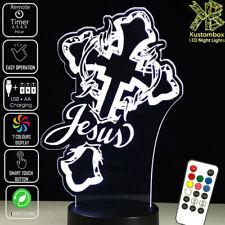 JESUS & THE CROSS RELIGIOUS 3D LED BATTERY USB NIGHT LIGHT 7 COLOUR'S REMOTE