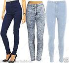 Talle Alto Tubo Jeans Mujer Elástico denim azul pitillo Disco Pantalones 6 to 14