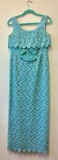 Spectacular 1960s Mint Green Lace Empire Line Column Dress By Blanes S