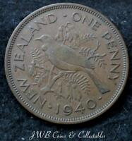 1940 George VI New Zealand One Penny Coin.