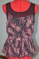 Lauren Conrad Blouse Top Size Small Black Floral Sleeveless Peplum Pleated
