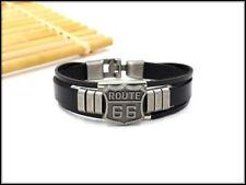 bracelet cuir noir , route 66, alliage de zinc 20cm