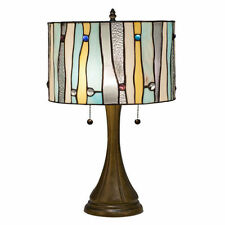 "Tiffany Style Blue Contemporary Table Lamp 16"" Shade 2 Lights Handcrafted New"