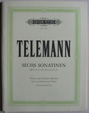 6 Sonatines de Telemann, partition pour violon et basse continue