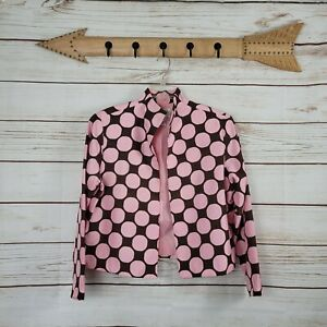 Silk Club   Pink & Brown Polka Dot Silk Blazer Petite Large Open Front