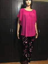 Cato Large Bat Wing Short Sleeve Magenta Hot Pink Top