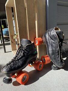 Vintage Riedell Red Wing 295 Black Leather Roller Skates Cobra Size 7