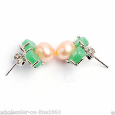 Natural 8-8.5mm Pink Akoya Freshwater Pearl Green Jade leaf Stud Earring