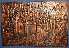 Vintage wall hanging copper plaque cityscape fortress