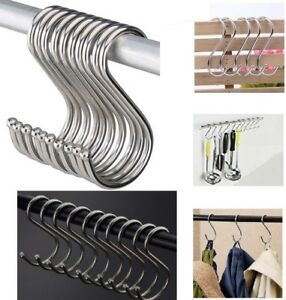 4/8PCS Stainless Steel S Hooks Kitchen Meat Pan Utensil Clothes Hanger Hanging