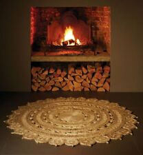 Zira Classic Natural Beige Hand Woven Soft Warm Jute Traditional Circle Rugs